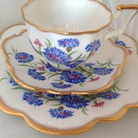 Salisbury Cornflower Cup & Saucer Set - English Fine Bone China - Scalloped shaped - white blue pink - floral - wild meadow flowers