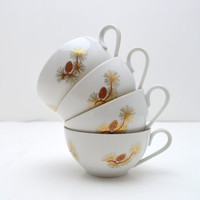 Vintage Fukagawa Arita Tea Cups, Set of 4, Pattern No. 904, Pine Cones, Hand Painted, Gold and Turquoise on White