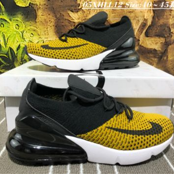 Nike Air Max 270 Flyknit Yellow For Women Men Running Sport Casual Shoes Sneakers