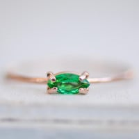 Emerald Marquise Ring in 14k Gold