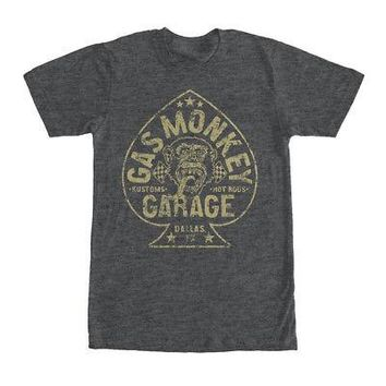 Gas Monkey Garage Aces High Spade Logo Licensed Adult Unisex T-Shirts - Grey