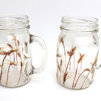 Handpainted Glass Mason Drinking Jars - Wheat Field - Home Decor - Modern Country Kitchen - Tableware - Drinkware - Original Painting