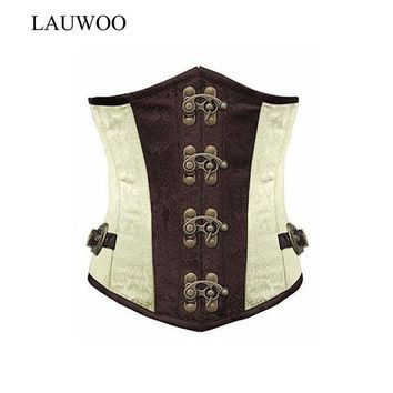 ESBONJ LAUWOO Brown Retro Sexy Basque Gothic Corset Lace up Steel Boned Brocade Steampunk Corselet Underbust Red Balck S-2XL