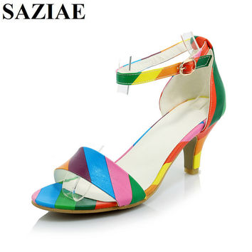 [SAZIAE] New Fashion Women Shoes Buckle Sandals Thin Heels Mixed Color Sexy Sandals Summer Shoes Woman Patent Leather Sandals
