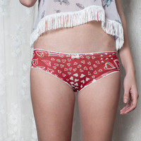 HEART ME. White Hearts on Red Sheer Panties. Briefs. Homemade Lingerie