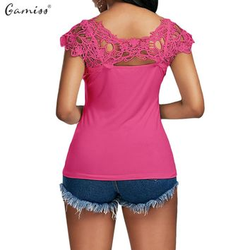 Gamiss 2017 Women Lace Trim Cap Sleeve Cutwork T-shirt Casual O Neck Short Sleeve Top Tee Ladies Sexy Back Hollow Out Blusa