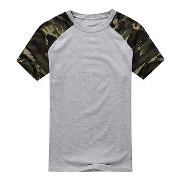 SYB-Man Casual Camouflage T-shirt Men Cotton Arm Combat T Shirt Military Camo Camp Mens Tees Army gray