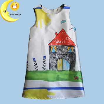 New fashion cotton baby girl tutu dresses clothes kids children's sleeveless princess dress graffiti infant vestido bebe