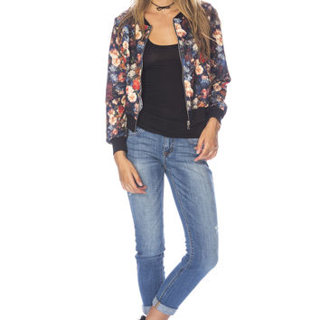 Flower Stretch Bomber Jacket