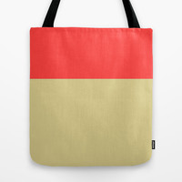 Women's Tote Bag, Color Block, Red and Tan, Canvas Tote Bag