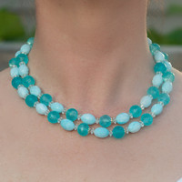 Vintage Double Strand Blue Choker by TwiceBakedVintage on Etsy