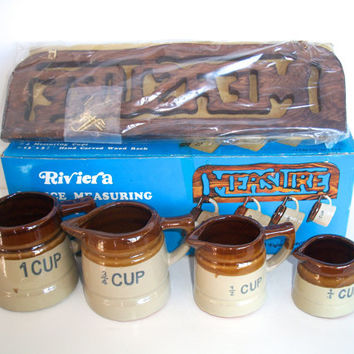 Vintage 5 Piece Measuring Cup Set With Hand Carved Wood Rack Made By Riveria New Old Stock Rustic Farmhouse
