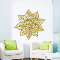 Wall Decal Vinyl Sticker Decals Art Home Decor Mural Mandala Ornament Indidan Geometric Moroccan Pattern Yoga Namaste Flower Bedroom AN135