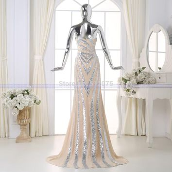 New Factory Made Long Prom Dresses Actual Image A-line Sequins Dress Prom Gown