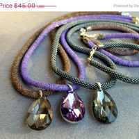 On Sale Wonderful retro rope necklace and crystal pendant, necklace and rope bracelet, handmade jewelry, violet color,Beadwork