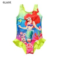 3-8T Mermaid Girl Kids Swimsuit Cartoon Bathing Suit Print Children Swimwear Bikini Tankini Baby Girl Summer Swimming Costume