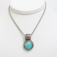 Vintage Pendant: Ornate Sterling and Turquoise