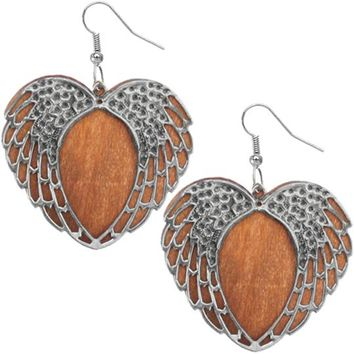 Light Brown Wooden Heart Wing Earrings