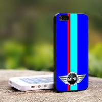 Mini Cooper Blue Sports Red Stripes - For iPhone 4,4S Black Case Cover