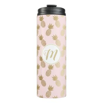 Gold Pineapple Pattern & Monogram Thermal Tumbler