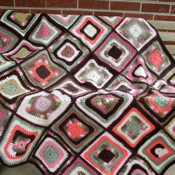 Crochet afghan, scrappy throw, lap blanket