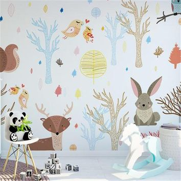 Custom Children Wallpapers Cartoon Forest Photo Wall Murals Kids Room Woods Birds Flowers Wall Papers for Living Room Home Decor