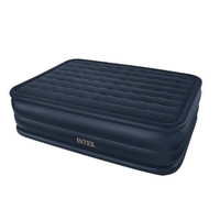 Queen-Size Inflatable Airbed Air Mattress With Waterproof Flocked Top & Pump