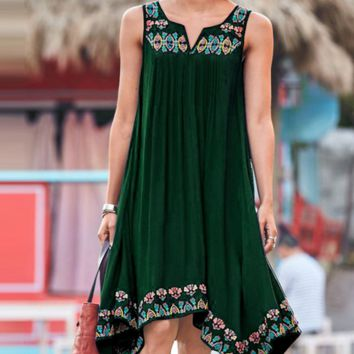 New fashionable round collar sleeveless sling print dress