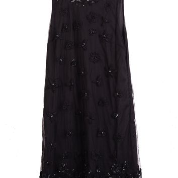 Red Valentino Womens Black Floral Sequin Sleeveless Dress