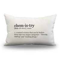 "Chemistry Definition Pillow Cover - Off White Color - Zipper Enclosure - 12""x18"""