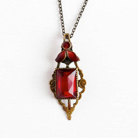 Art Deco Pendant - Vintage Brass Tone Red Vauxhall Glass Stone & Guilloche Enamel Necklace - 1920s Simulated Ruby Foil Back Costume Jewelry