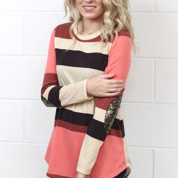 Fall for Stripes Sequin Elbow Patch L/S {Rust Mix}