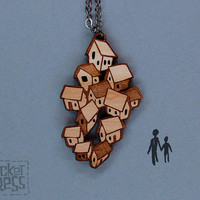 Houses - Wood Pendant Necklace