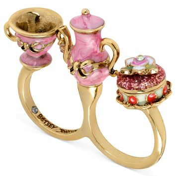 Betsey Johnson Ring, Antique Gold-Tone Pink Teapot and Cup Two-Finger Ring - Fashion Rings - Jewelry & Watches - Macy's