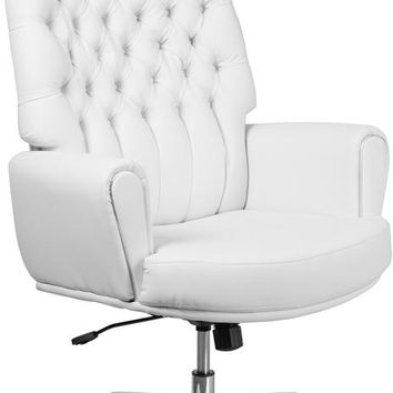High Back Traditional Tufted White Leather Executive Swivel Office Chair with Arms [BT-444-WH-GG]