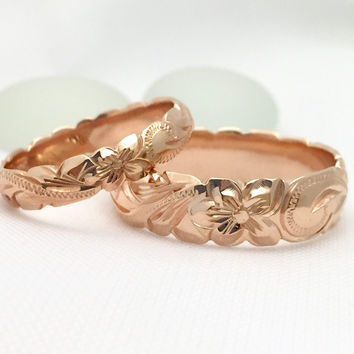 Gold wedding Ring Set of Traditional Hawaiian Hand Engraved 14k Pink Gold Barrel Rings (4mm & 6mm width)