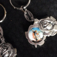 Saint Michael Guardian Angel Key Chain Archangel Medal Silver Key Ring Protection Sliding Rose Protection Inspirational Gift