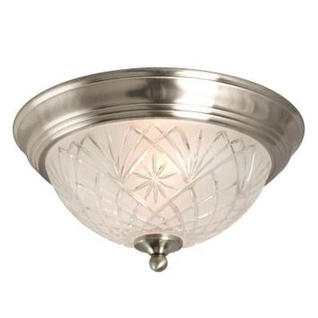 Hampton Bay 2-Light Flush-Mount Brushed Nickel Ceiling Light-002-80191BN - The Home Depot