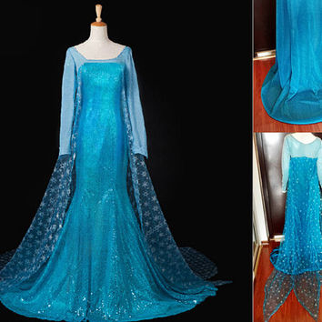 US Dresses + Wigs Elsa Princess Dress Costume Cosplay Frozen Snow Queen Elsa Blonde Braid Cosplay