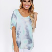MINT/GREY OVERSIZE TIE DYE TOP