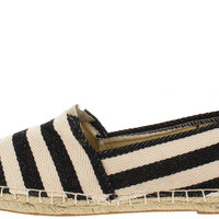 Cannes Striped Espadrille Flats - Black