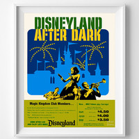 Vintage Disneyland, Poster, Print, Disneyland After Dark, Disney, Reproduction, Restored, Restoration, Reprint, Magic Kingdom [No 1269]