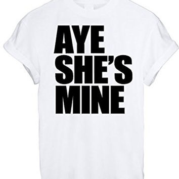 AYE HE'S SHE'S MINE MICKEY MOUSE HAND PRINTED t shirt Top Tee size XS S M L XL - White