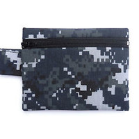 Camo Wallet NWU Zipper Pouch Camouflage Small Change Bag USA Made Navy Digital