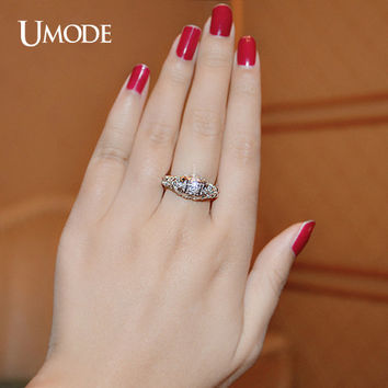 UMODE AAA+ Grade Round Simulated CZ Stone Double Elephants Silver Color Rings For Women Fine Carve Jewelry For Christmas UR0137