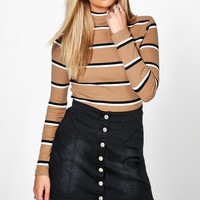 Summer Premium Stripe Rib Roll Neck