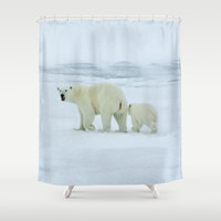 Polar Bear and Cub Shower Curtain by BravuraMedia | Society6