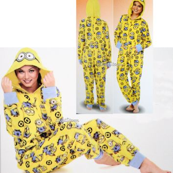 Licensed cool NEW MINION DESPICABLE ME ADULT 1PC Costume PJS Fleece Hooded NON Footed Pajamas