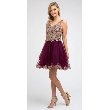 Short Tulle A-Line Plum Homecoming Dress Lace Applique Bodice