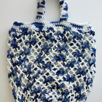 Large Vegan Blue White Market Bag Cotton Crochet Tote Bag Handmade Beach Bag